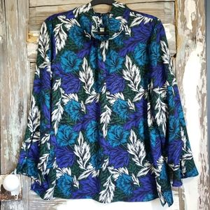 Vince Camuto Floral High Neck Top Size Large